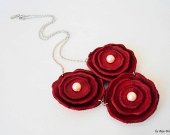 Red Leather Flowers Necklace, Valentine's Gift, Modern Leather Jewelry, Pearl Necklace, Cherry Red Flowers