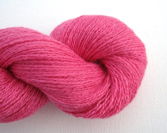 Lace Weight Silk Cashmere Recycled Yarn, Hot Pink, 480 yards