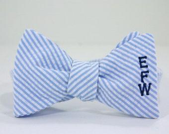 Monogramed Bow Tie - Seersucker