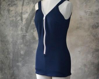 1960s Mod Swim Suit Navy Zipper