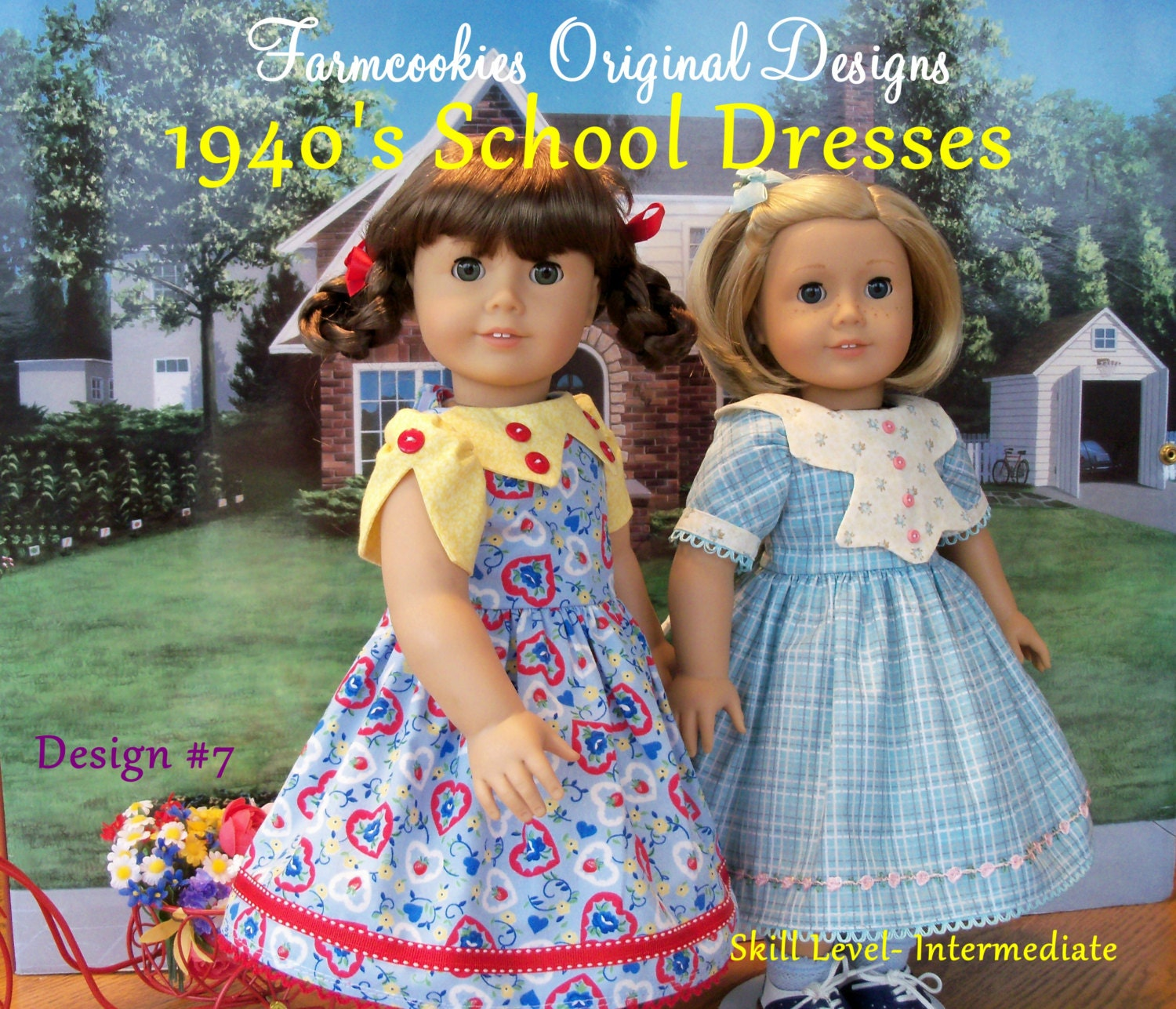 Printed sewing pattern 1940s school dresses by farmcookies printed sewing pattern 1940s school dresses by farmcookies fits like 18 inch american girl doll clothes doll clothes pattern jeuxipadfo Images