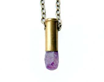MARS raw ruby bullet necklace