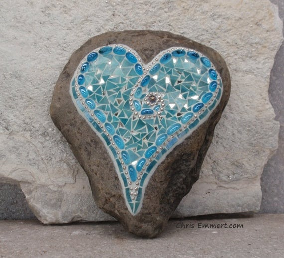 Large Silver, Mirror and Turquoise Blue Heart  - Mosaic on Rock / Garden Stone
