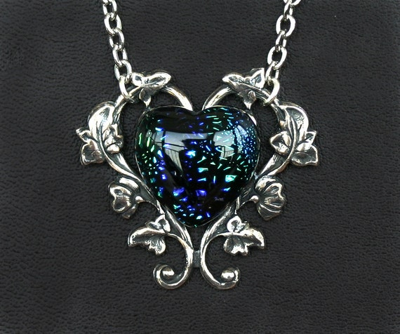 Green and Blue Dichroic Glass Heart Cabochon Necklace