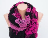 Fuchsia Pink and Black Infinity Scarf Soft  Scarf with raised Butterflies and Flowers Raspberry-Winter Accessories-Loop Scarf- Huge scarf