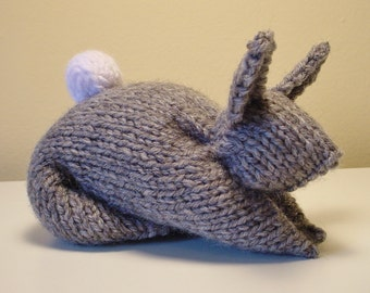Stuffed Bunny Toy Hand-Knit in Gray, Soft Baby Shower Gift
