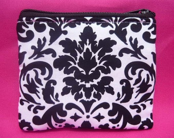 Black and White Damask Coin Bag
