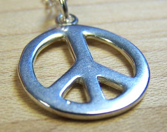 Sterling Silver Peace Charm Necklace, Peace Symbol, End War, Revolution, Love, Coexist, Friendship, Respect, 1960's, Father's Day
