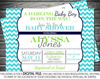 Boys Baby Shower Invitation - Modern, Chevron, Navy, Turquoise, Green, Printable, Digital