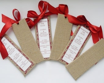 50 Save the Date Bookmarkers, Rustic Burlap Save the Date Bookmarkers, Wedding Favors (Custom Colors Available)