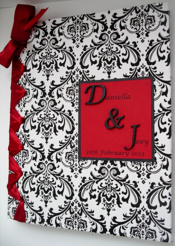 Damask Wedding Guest Book-Damask Photo Album-Wedding Date & Monogram-(Custom Colors Available)