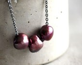 Berry Pearl Necklace, Oxblood Cranberry Red Baroque Pearl Oxidized Sterling Silver Birthstone Necklace Pearl Jewelry - Berrystained