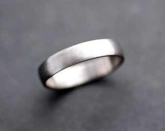 Men's Wedding Band, 4.5mm Low Dome 14k Recycled Hand Carved Palladium White Gold Wedding Ring - Made in Your Size