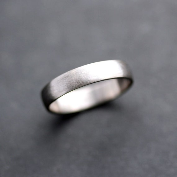 Men S Wedding Band 4 5mm Low Dome 14k Recycled Hand