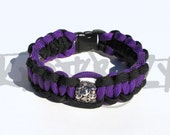 Tibetan Silver Skull Beads on 550 Paracord Survival Strap Bracelet Anklet with Plastic Contoured Side Release Buckle