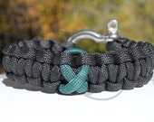 Leukemia Mitochondrial Disease Cerebral Palsy Dark Green Ribbon 550 Paracord Survival Strap Bracelet Anklet w/ Stainless Steel Shackle
