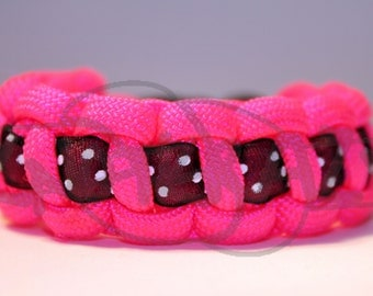 One Color 550 Paracord Survival Strap Bracelet Anklet with Ribbon Accent and Plastic Side Release Buckle