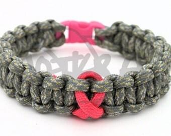 Uterine Cancer Salmon Ribbon 550 Paracord Survival Strap Bracelet Anklet w/ Plastic Contoured Side Release Buckle
