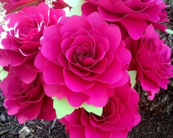 Paper Flowers - Weddings - Birthdays - Baby Showers - X-Large Stemmed Flowers  - Wide Variety Of Colors - Set of 24 - Made To Order