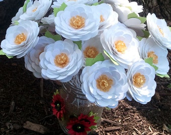 Paper Flowers - Birthdays - Weddings - Special Events -  Daisies - Stemmed - Set of 24 - Made To Order
