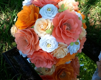 Paper Flower Wedding Bouquet - Salmon and Tangerine- Bride or Bridesmaid - Custom Made - Any Color