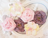 NEW: Manor House Creations 6 piece Shabby Chic Handmade Paper Flower - Whimsey Mix Pink, Grape, and Cream