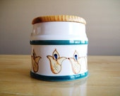 Vintage Ceramic and Wood Sugar/Tea/Coffee Canister Jar