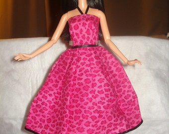 Beautiful hot pink Leopard print party dress for Fashion Dolls - ed369