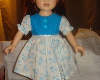 Blue and white floral full dress with buttons for 18 inch Dolls - ag159