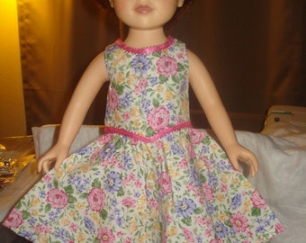 Handmade 18 inch Doll pink floral top and full skirt set - ag18