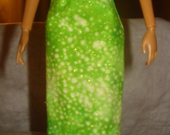 Fashion Doll Coordinates -  Lime green with gold sparkle a-line skirt - es215