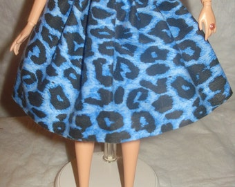 Fashion Doll Coordinates - Blue and black Leopard print full skirt - es221