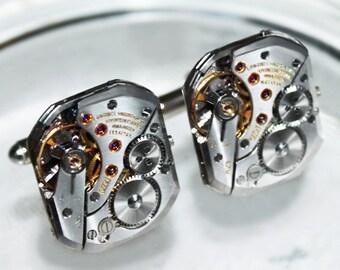LONGINES Men Steampunk Cufflinks - Rare GENUINE Luxury Swiss Silver Vintage Watch Movement Men Steampunk Cufflinks Cuff Links Wedding Gift