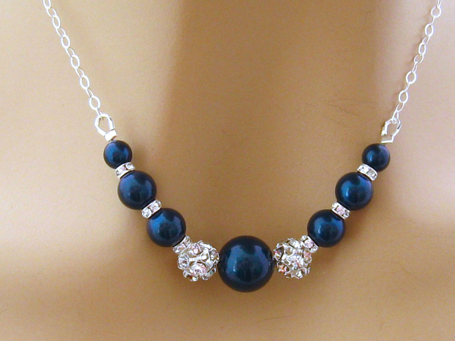 Blue Pearl Necklace Pearl Rhinestone Bridal Necklace Blue