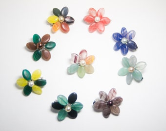 Flower Glass Pearl Hair Barrettes - Six Petal Glass Wired Flower Hair Accessories in a Rainbow of Colors - Art Jewelry by Sarah McTernen