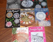 Lot of 8 Vintage Booklets Instructions Crochet Doilies 1944-1953
