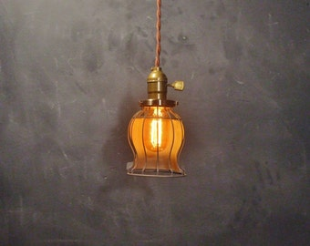 Vintage Industrial Style Bell Cage Light - Machine Age Minimalist Pendant Lamp