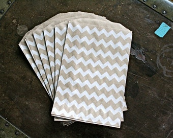 Kraft paper gift bags, 20 Middy Bitty Bags.  White chevron pattern on brown kraft paper bag.  Gift bag, favor bag, candy buffet.