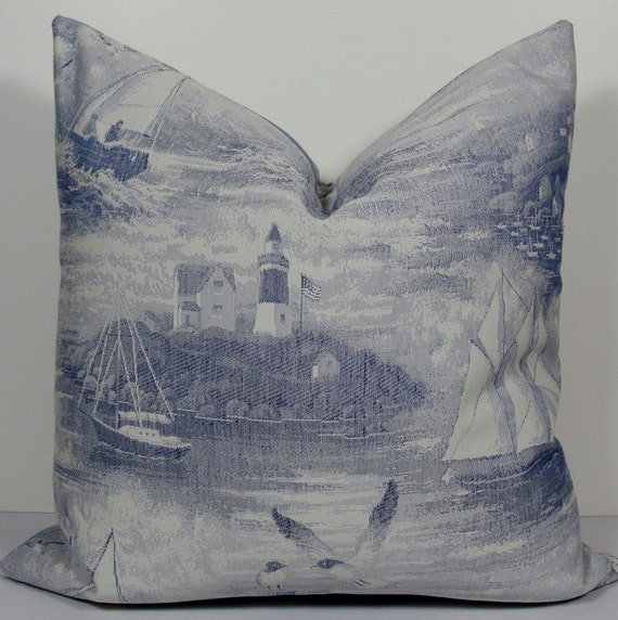 nautical french sailboat toile in blue decorative by wilmalong. Black Bedroom Furniture Sets. Home Design Ideas