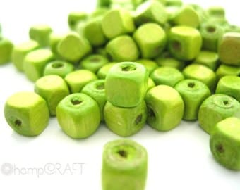 Wood Cube Beads, Lime Green, 50pc, 5mm