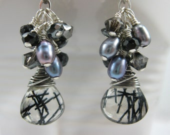 Black and Clear Tourmalated quartz, Pearl, Onyx, and Swarovski Crystal Sterling Silver Earrings