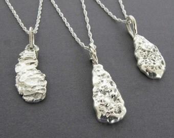 Sterling Silver Metalwork Teardrop Pendant, Recycled Sterling Silver Pendant Necklace, Bridesmaid Necklace, Unique Organic Teardrop Necklace