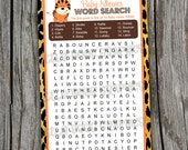 Word Seach Game Cards -- Leopard Jungle Safari Animals - PRINTABLE - Baby Shower, Birthday Favors