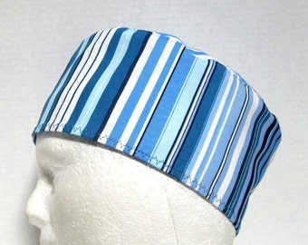 Mens Scrub Hat or Surgical Cap Stripes in Shades of Blue