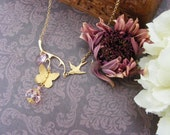 Butterfly necklace in raw brass with light rose pink Swarovski crystal heart and glass rondelle