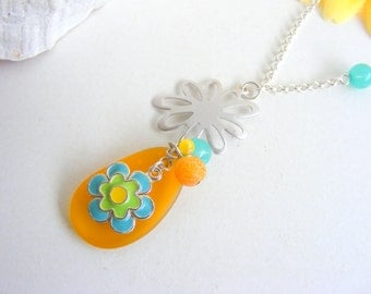 Summer necklace and earrings set, sea glass necklace