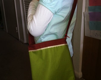 Sweet One Shoulder Bag in Greens with Maroon inside, Unique, washable Kids or Adults