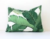 Palms Leaves Designer Pillow Cover lumbar Accent Cushion aloe emerald resort summer banana modern tropical beverly hills martinique green