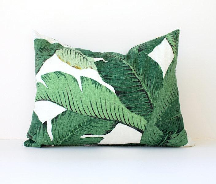 Modern Green Pillow Cover : Modern Tropical Green Designer Pillow Cover 12? x 16? lumbar Accent Cushion aloe emerald Resort ...