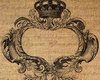 FRAME Text Word Calligraphy Crown Digital Image Download Transfer To Burlap Fabric Pillows Tote Tea Towels No. 4315